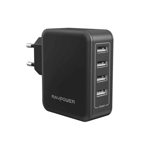 RAVPower USB Ladegerät 4-Port 40W AC Wandladegerät mit iSmart Technologie für iPhone X XS XR XS Max 8 7 6 Plus, iPad Pro Air Mini, Galaxy S9 S8 Plus, LG, Huawei, HTC, Bluetooth Kopfhörer, Mp3 usw. schwarz
