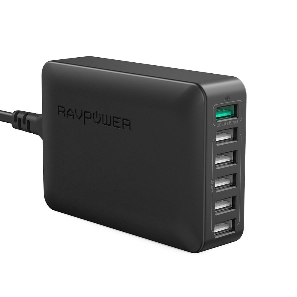 USB Ladegerät RAVPower 6-Port Desktop Ladestation mit Quick Charge 3.0 und iSmart 2.0 für iPhone X XS XR XS Max 8 7 6 Plus, iPad Pro Air Mini, Galaxy S9 S8 Plus, LG, Huawei, HTC, Bluetooth Kopfhörer, Powerbank, Mp3 usw. schwarz